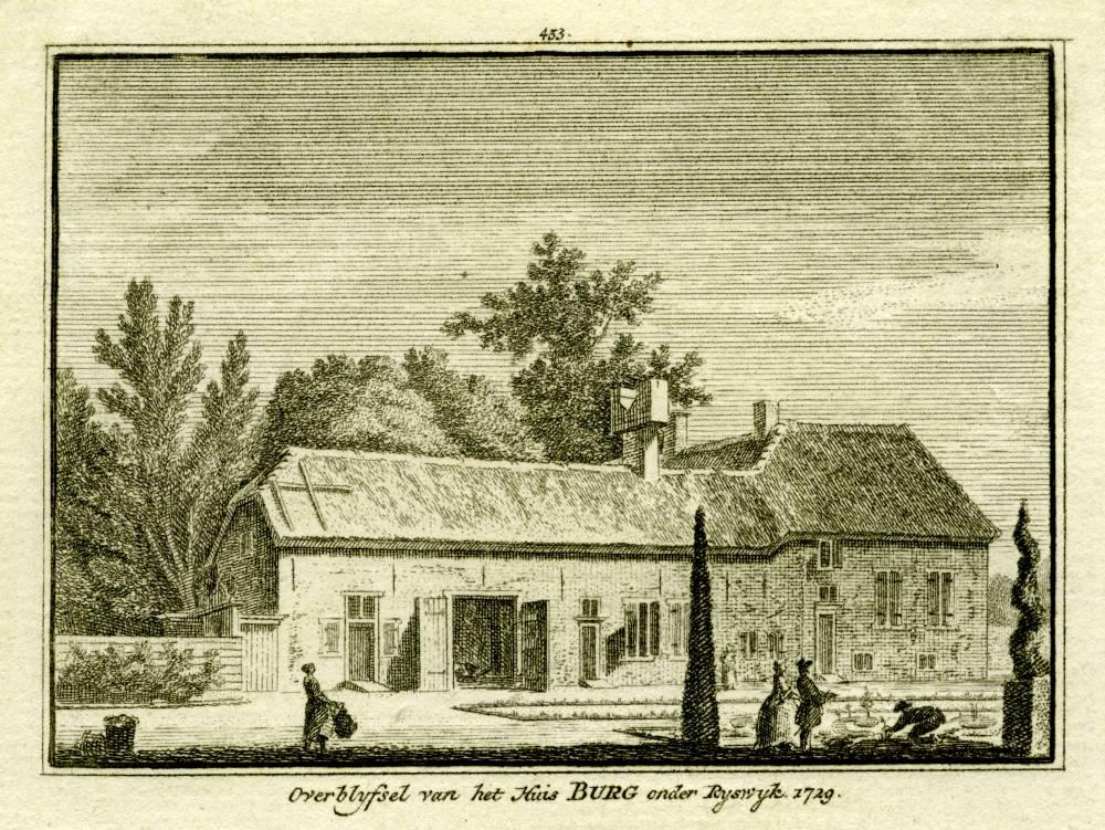 Huis de Burgh in Rijswijk. Tekening Abraham de Haen, gravure Hendrik Spilman (Uit: Het Verheerlykt Nederland, Isaac Tirion, 1745/1774)